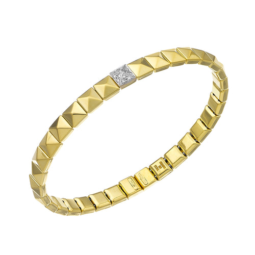 18K Armillas Pyramis Yellow Gold Bracelet with Diamonds
