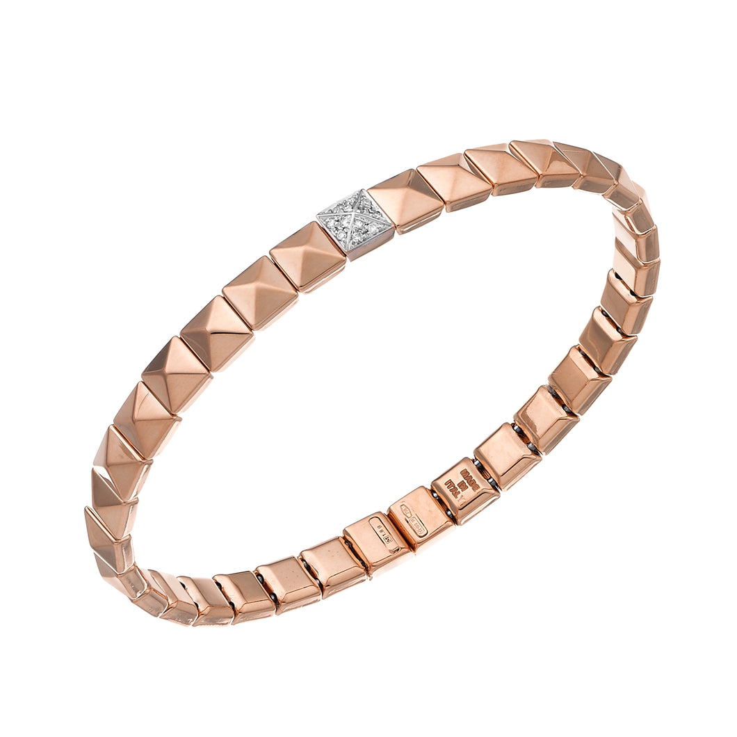 18K Armillas Pyramis Rose Gold Bracelet with Diamonds