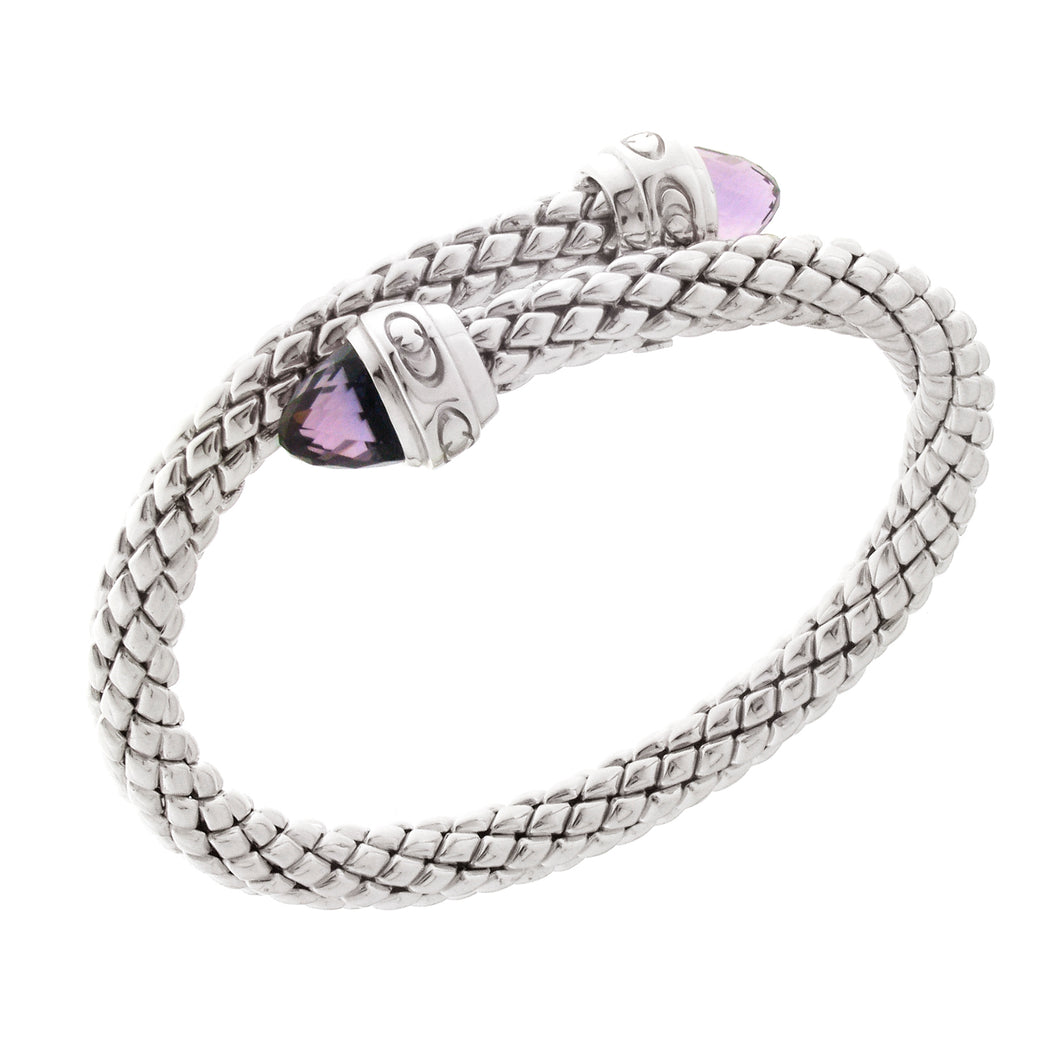 Stretch Silver Bracelet with Amethyst Stone, Single Coil/Logo