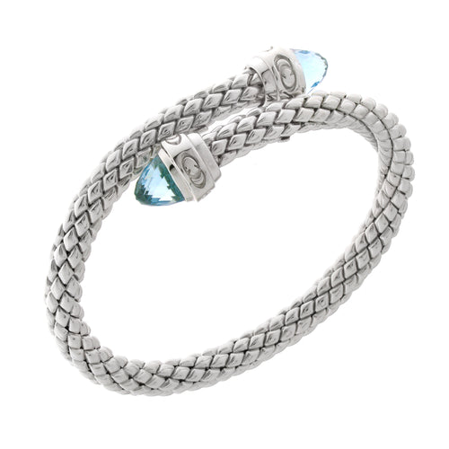 Stretch Silver Bracelet with Topaz Stone, Single Coil/Logo