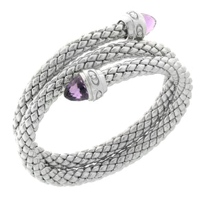 Stretch Silver Bracelet with Amethyst Stone, Double Coil/Logo