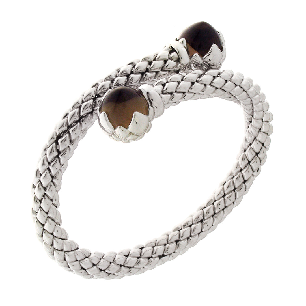 Stretch Silver Bracelet with Smoky Quartz Stone, Single Coil