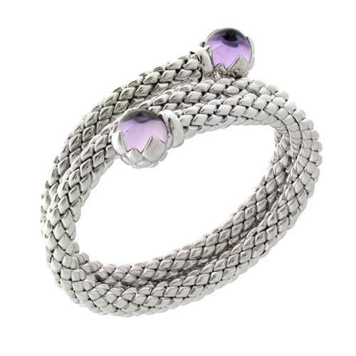 Stretch Silver Bracelet with Amethyst Stone, Double Coil