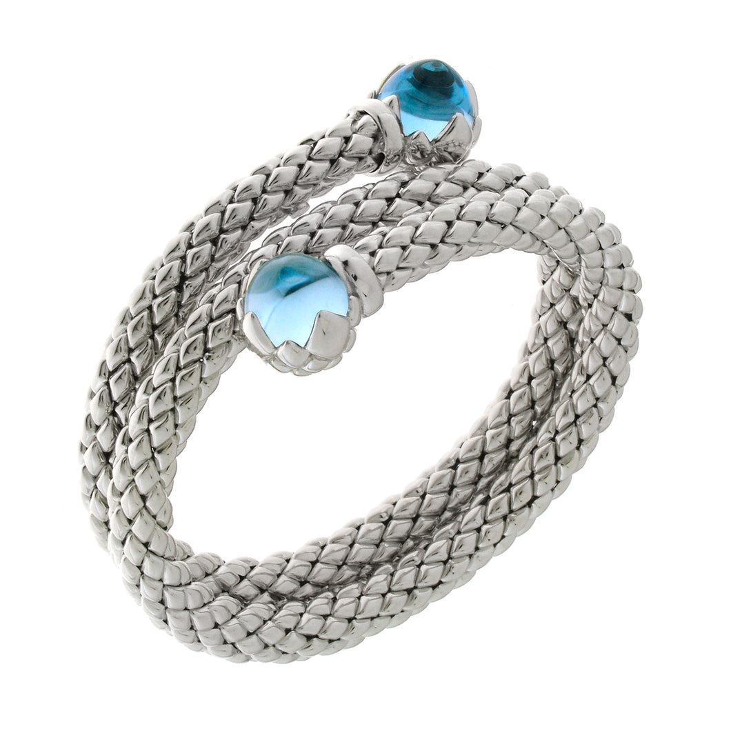 Stretch Silver Bracelet with Topaz Stone, Double Coil