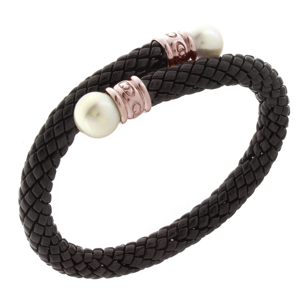 Stretch Rose Gold Plated Silver and Black Ceramic Bracelet with Pearls