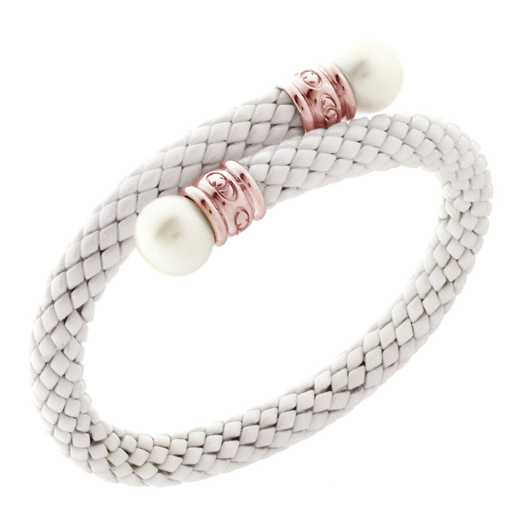 Stretch Rose Gold Plated Silver and White Ceramic Bracelet with Pearls