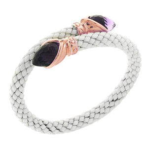 Stretch Rose Gold Plated Silver and White Ceramic Bracelet with Amethyst Stone