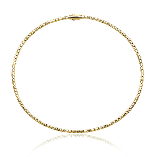 18K Stretch Spring Yellow Gold Necklace