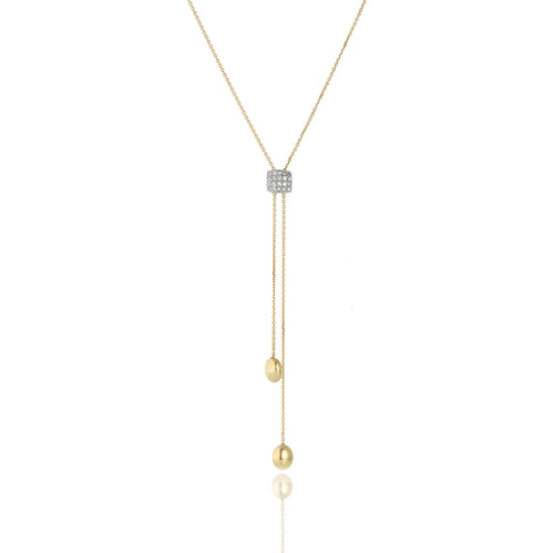 18K Armillas Acqua Yellow Gold Lariat with Diamonds