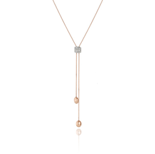 18K Armillas Acqua Rose Gold Lariat with Diamonds