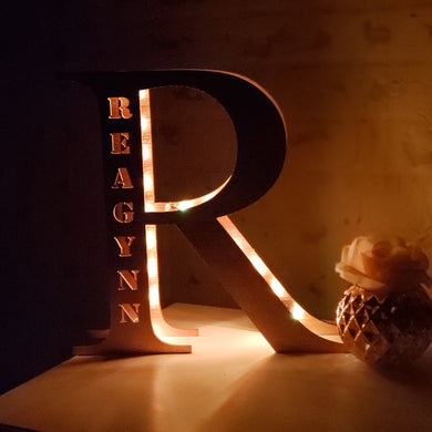 'Made to Order' Wood Initial Light