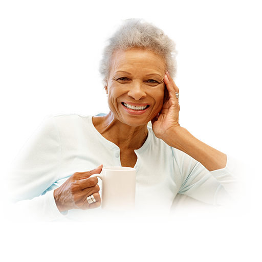 Older woman enjoying coffee.