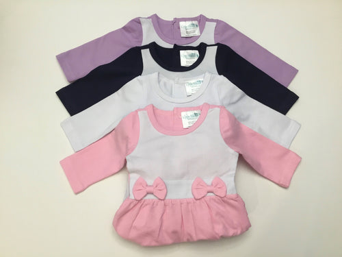Baby Girl Sleeper with Bow Detail (Footie) - Little Blanks, LLC