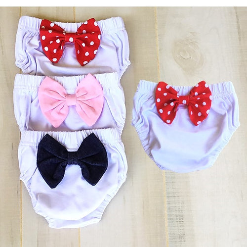 Baby Girl Bloomers (Diaper Cover) with Rear Bow - Little Blanks