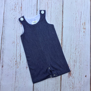 Boy's Sleeveless  Faux Denim Jon Jon, Shortall, Romper - Little Blanks