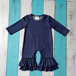 Girls Faux Denim Romper with Ruffle Legs - Little Blanks, LLC