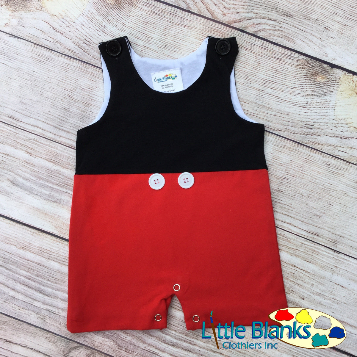 Mickey Mouse Inspired Shortall Romper For Baby Boys
