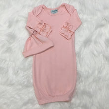 Solid Color Baby Gown with Ruffle Sleeves & Matching Beanie - Hidden Zipper - Little Blanks