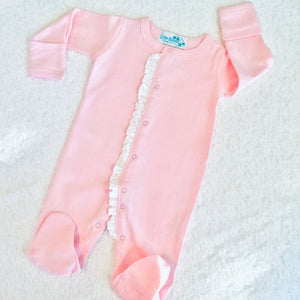 Girls Infant Footie Sleepers with Ruffle - Little Blanks, LLC