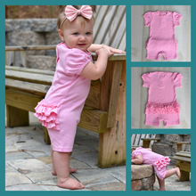 Girls Pink Ruffled Rear One Piece Romper with Puff Sleeves - Little Blanks, LLC