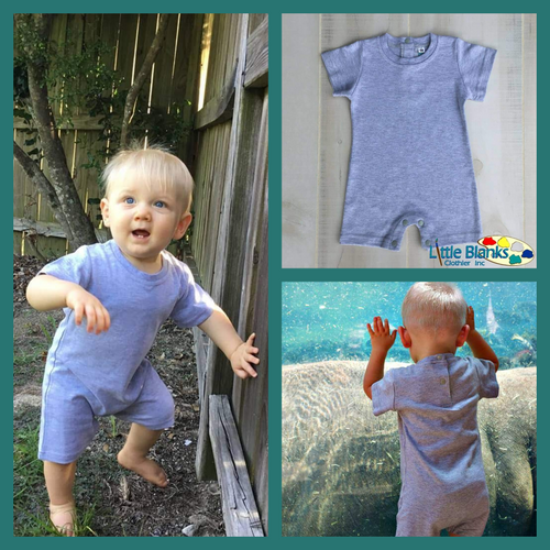 Boys Heather Gray Romper - Little Blanks