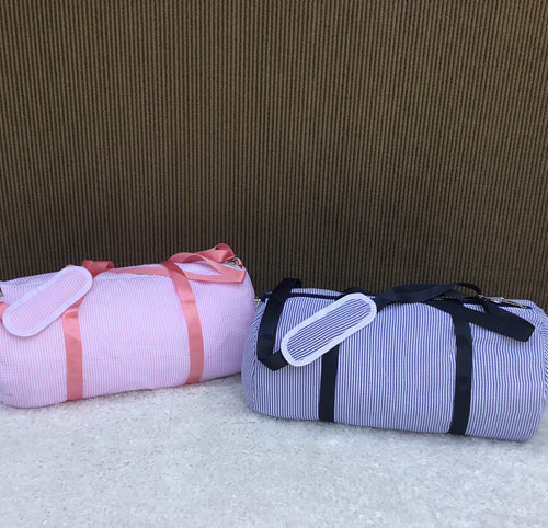 Seersucker Duffel Bag - Pink or Navy - Toddler size or Small Overnight Bag! - Little Blanks