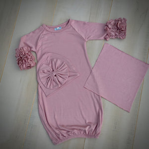 Baby Girls Ruffle Sleeve Gown With Bow Beanie and Applique Swatch - Little Blanks