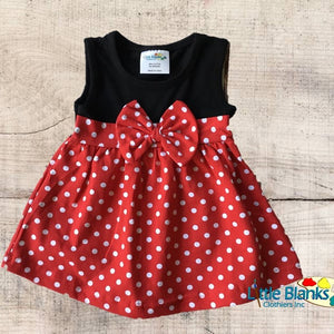 Girls Minnie Mouse Inspired Dress - Little Blanks