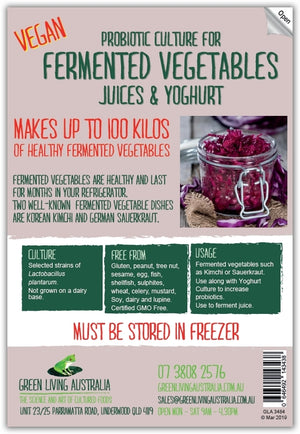 Vegan Fermented Vegetable Culture - 100 litres / kgs