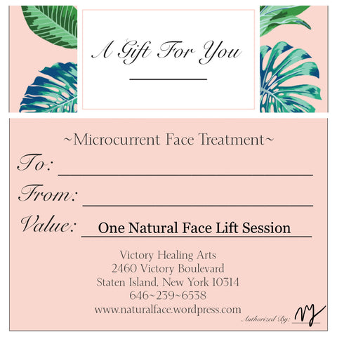 Microcurrent Session Certificate for The Natural Face Lift Staten Island location only - Allbetor Skin Care
