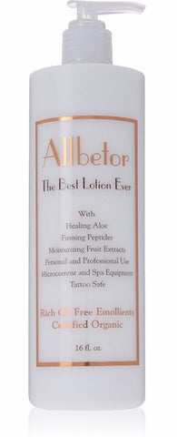 FREE SHIPPING - Allbetor Organic Face and Body Lotion - For Your Best Skin Ever - With Firming Peptides for Day and Night - Works With Personal & Professional Spa Equipment - With Rich Oil Free Emollients - Large 16 fl. oz.
