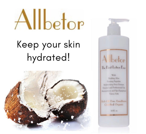 Free Shipping - Allbetor Organic Face and Body Lotion - With Firming Peptides and Rich Oil Free Emollients - for Day and Night - Works With Personal & Professional Spa Equipment and Rollers - Unscented Large 16 fl. oz bottle