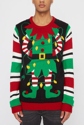 Santa's Elf Light-Up Ugly Christmas Sweater