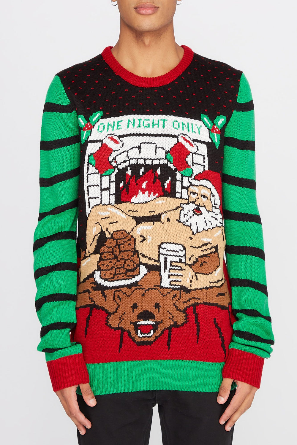 One Night Only Ugly Christmas Sweater Black