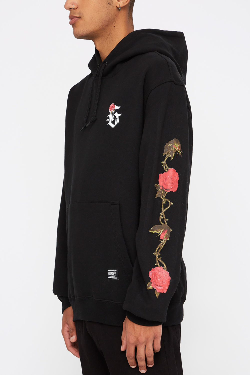 Grizzly Mens Gardener Rose Hoodie Black