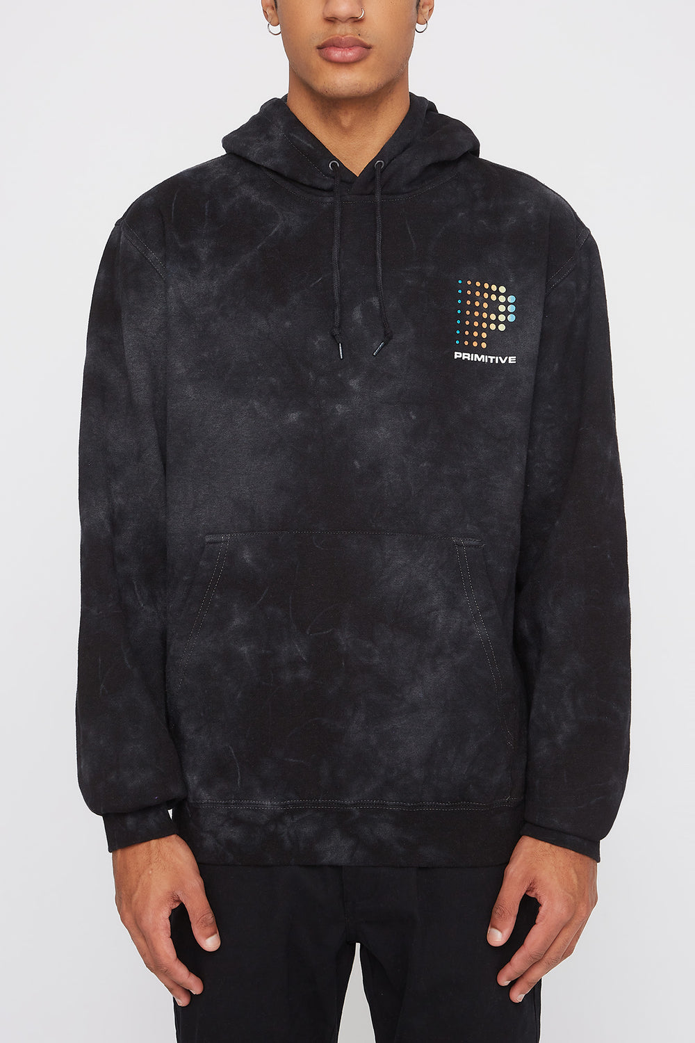 Primitive Mens Acid Wash Hoodie Black