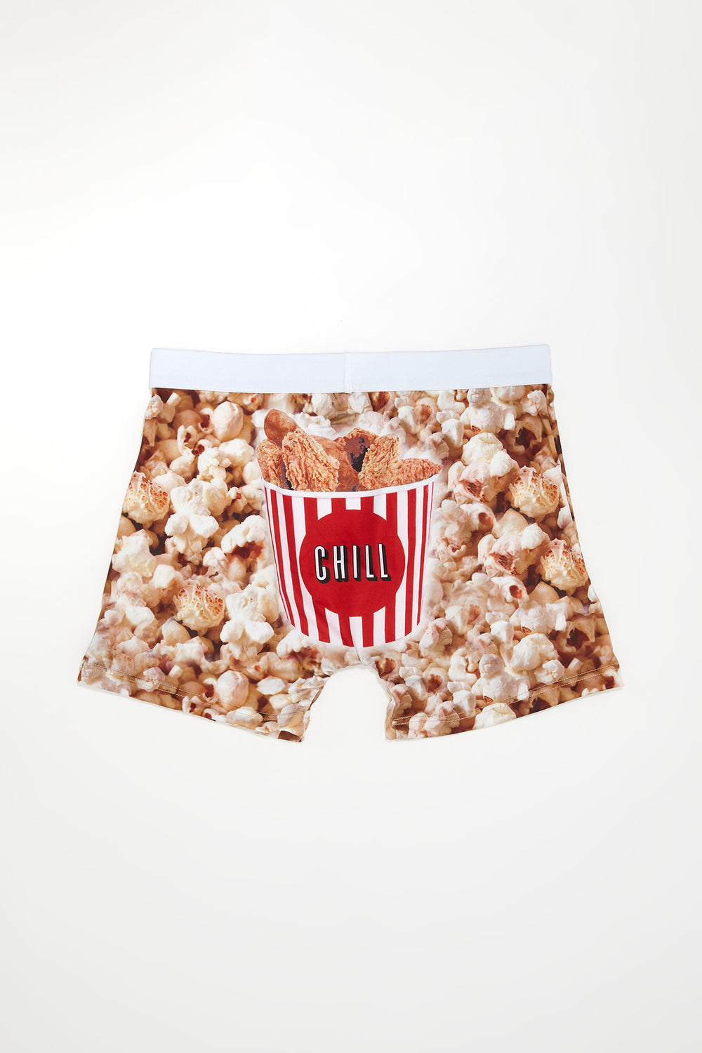 Undz Mens Popcorn & Chicken Fingers Boxer Brief White