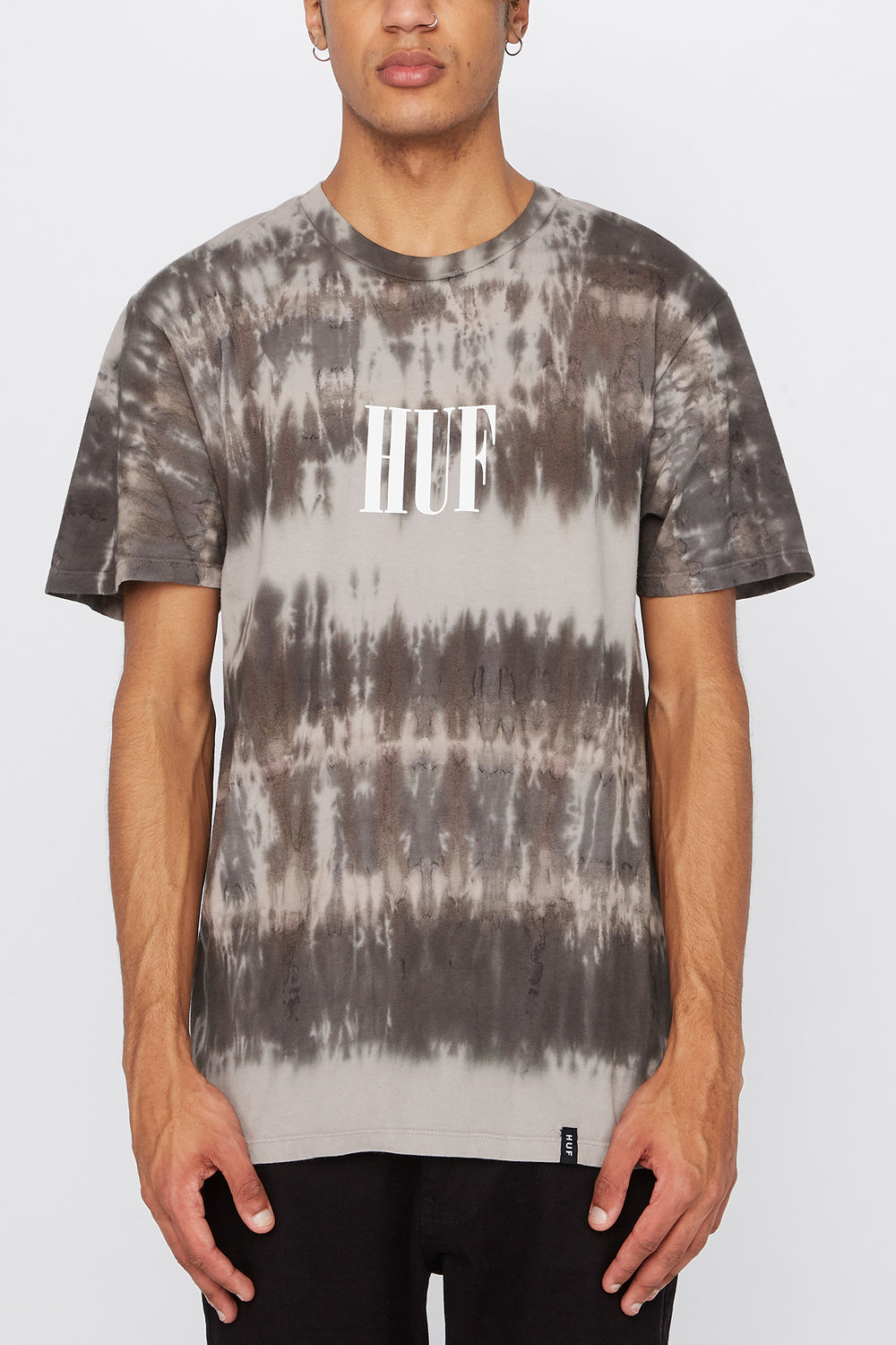 HUF Mens Grey Tie-Dye T-Shirt Black