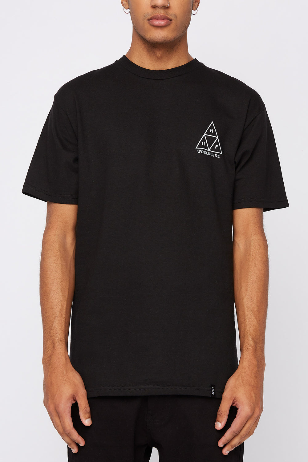 Huf Mens Ember Rose Triple Triangle T-Shirt Black