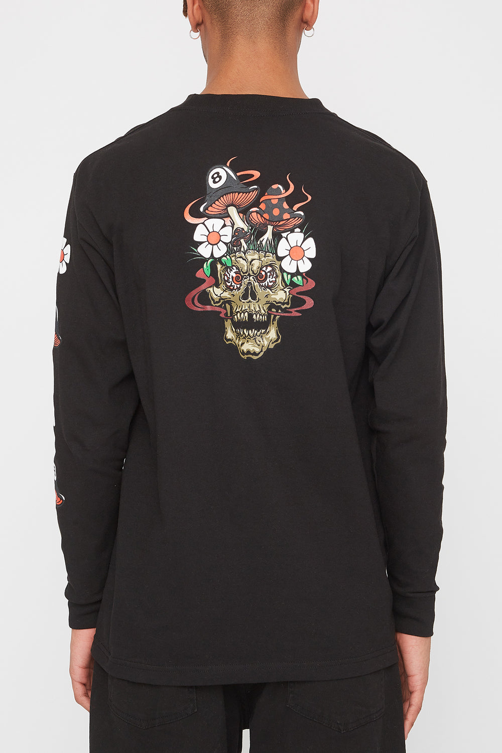 T-Shirt à Manches Longues Grizzly Skull Shroom Noir