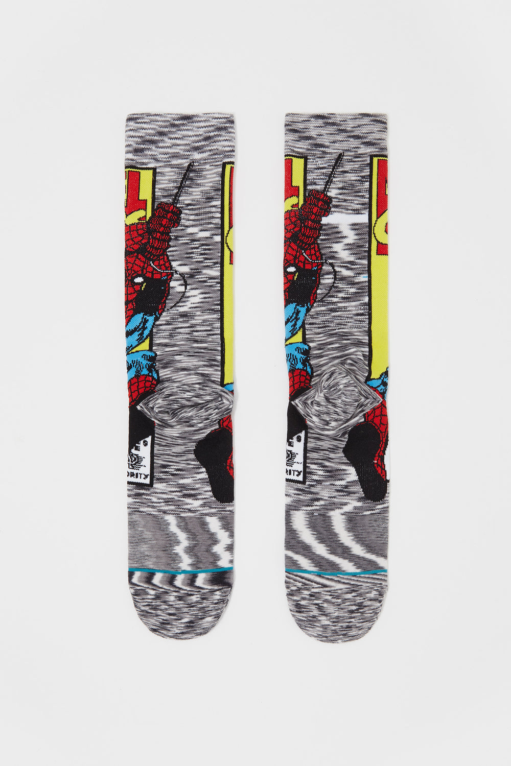 Stance Mens Spiderman Graphic Crew Socks Heather Grey