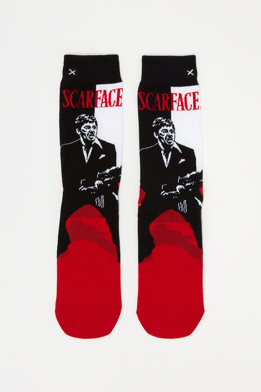 Odd Sox Mens Scarface Graphic Crew Socks Red