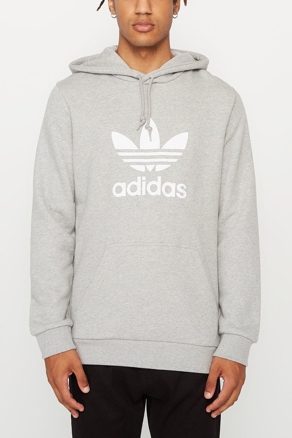Adidas Mens Trefoil Grey Hoodie Heather Grey