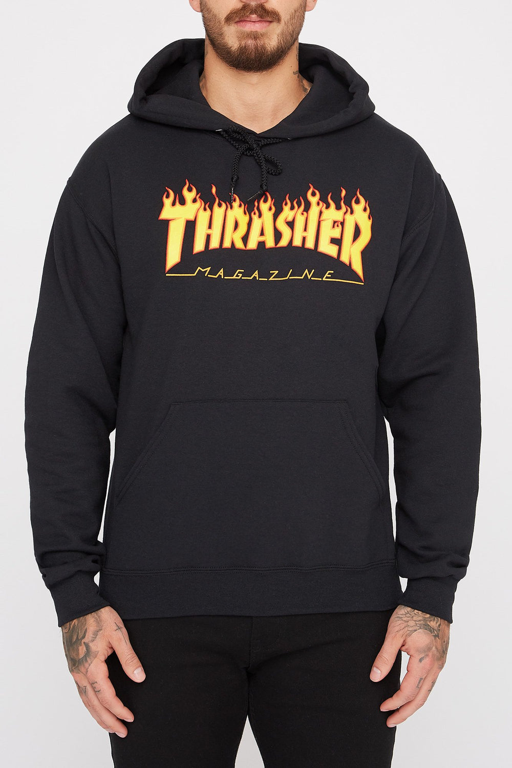 Thrasher Mens Black Flame Logo Hoodie Black