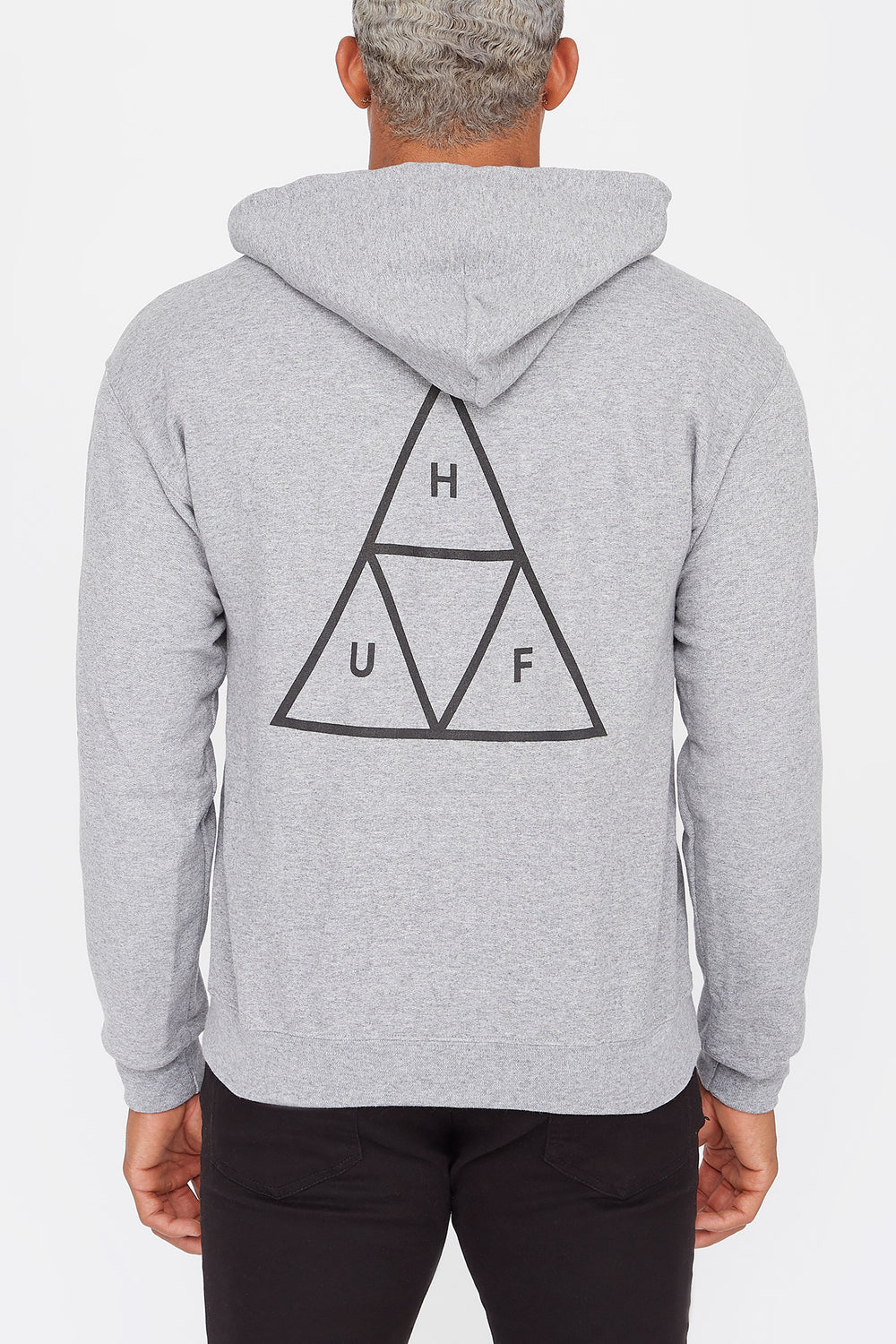 Haut À Capuchon Logo Essentials Triple Triangle Huf Gris