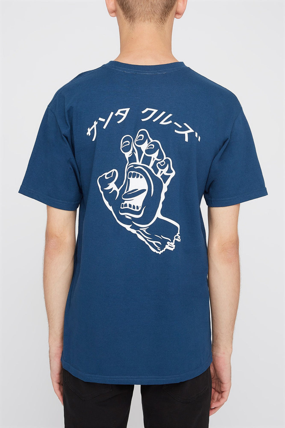 Mens Santa Cruz Japanese screaming Hand Logo T-Shirt Blue