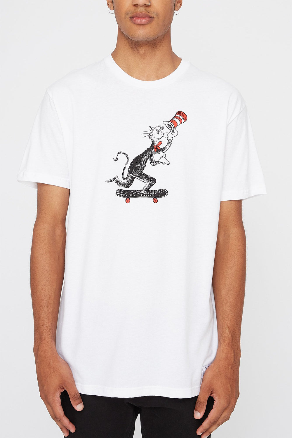 Almost Mens Cat In The Hat Graphic T-Shirt White