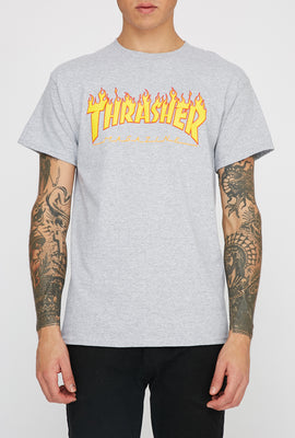 Thrasher Mens Grey Flame Logo T-Shirt