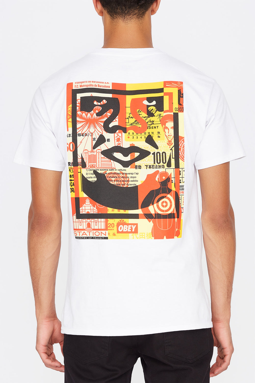 T-Shirt Face Collage Obey Blanc