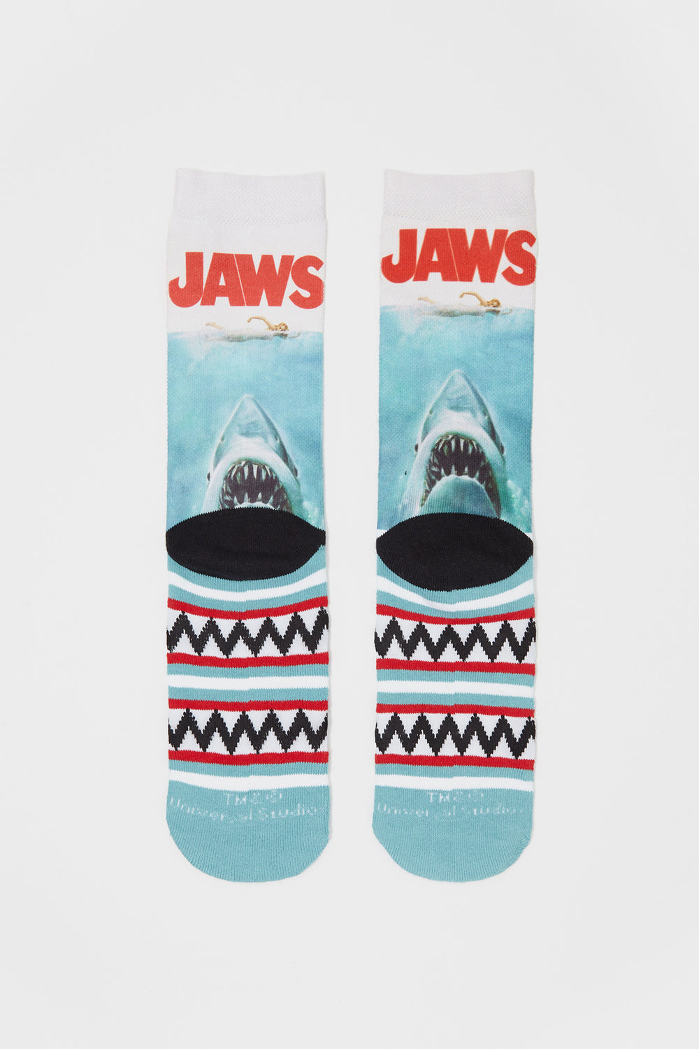 Odd Sox Mens Jaws Graphic Crew Socks Blue